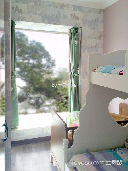 儿童房绿色窗帘现代简约风格装修效果图
