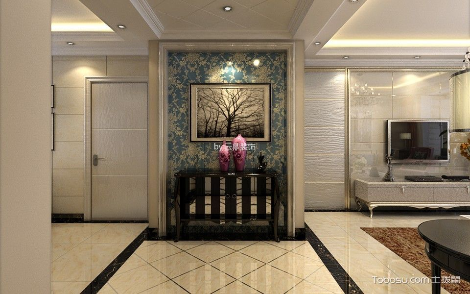 客厅黄色电视背景墙简欧风格装饰设计图片