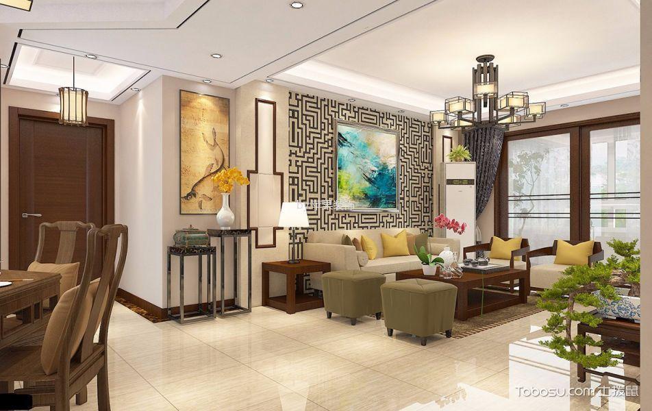 客厅 门厅_万科幸福誉新中式二居室风格效果图