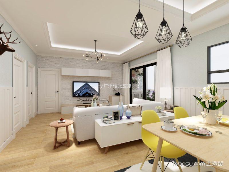 广州北部万科城100平北欧三居室效果图