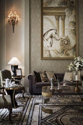 客厅背景墙法式风格装饰效果图