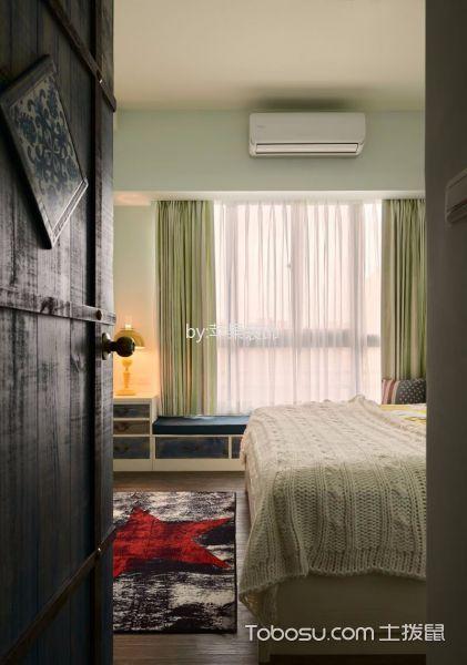 卧室绿色窗帘田园风格装修效果图