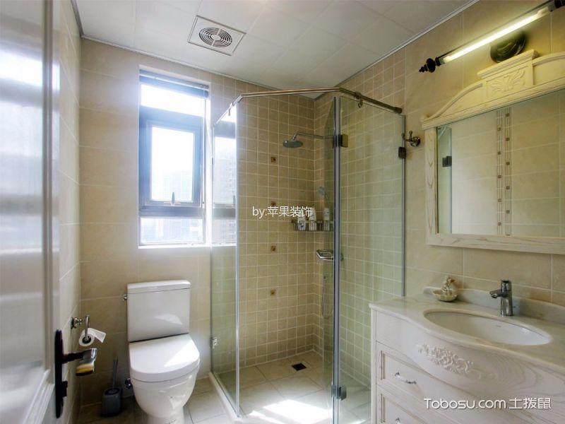 卫生间白色洗漱台田园风格装潢效果图