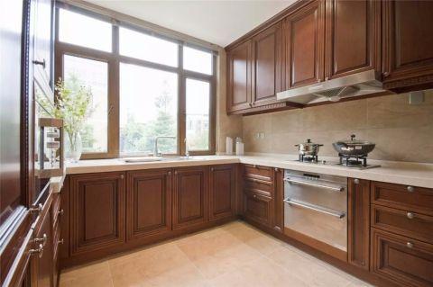 厨房咖啡色橱柜新中式风格装修设计图片