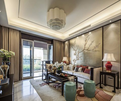 翡翠城新中式四居室效果图
