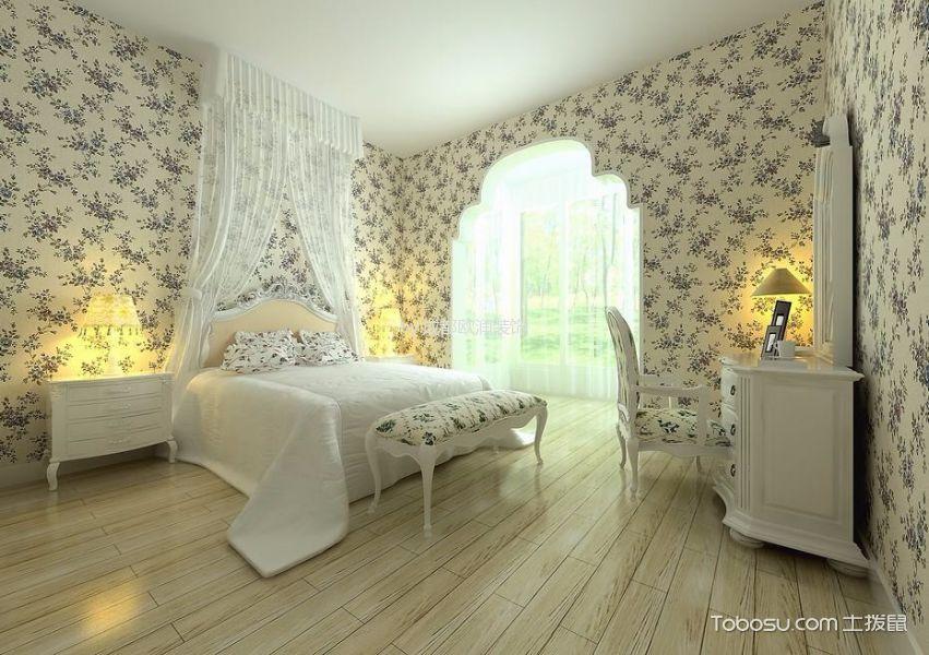 卧室 床头柜_田园风格110平米三室两厅新房装修效果图
