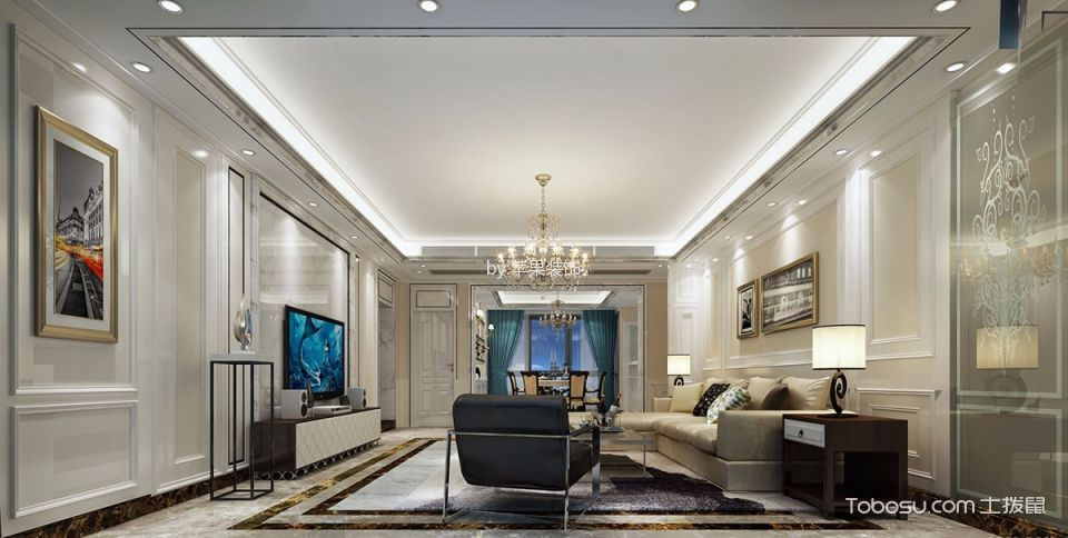中房台湾城简欧三居室风格效果图