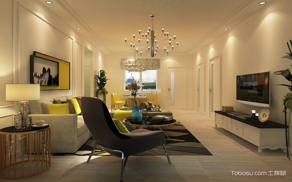 客厅白色电视柜简欧风格效果图
