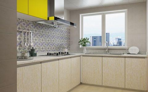 厨房黄色橱柜简欧风格装饰设计图片