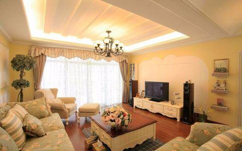 田园风格115平米三室两厅新房装修效果图