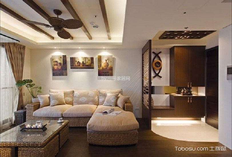 誉珑湖滨二期东南亚八十八平装修案例