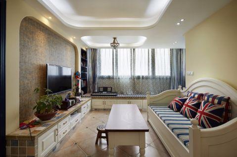 客厅白色沙发地中海风格装修设计图片