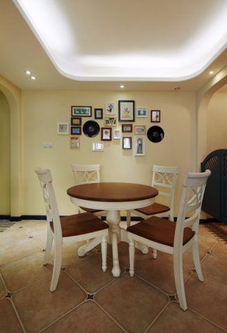 餐厅黄色照片墙地中海风格效果图