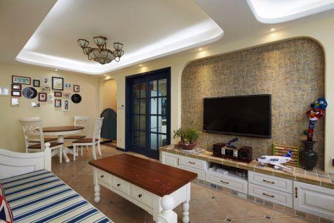 客厅白色电视柜地中海风格装修效果图