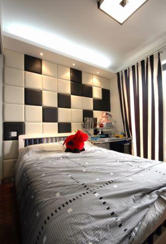 卧室黑色窗帘现代风格效果图