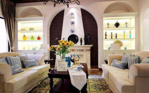 客厅咖啡色茶几地中海风格装潢图片