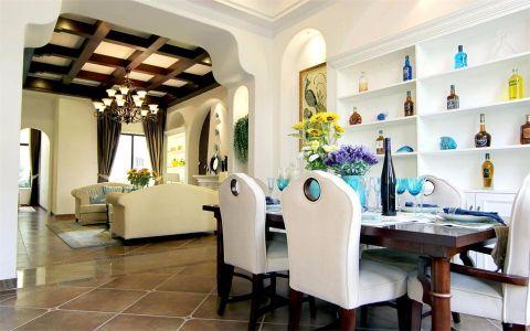 餐厅红色餐桌地中海风格装修设计图片
