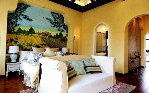 卧室白色床头柜地中海风格装潢设计图片