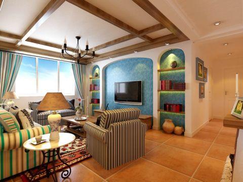地中海风格100平米公寓室内装修效果图