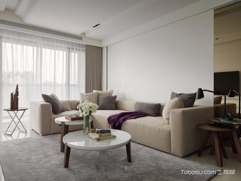 客厅咖啡色沙发现代简约风格装修设计图片