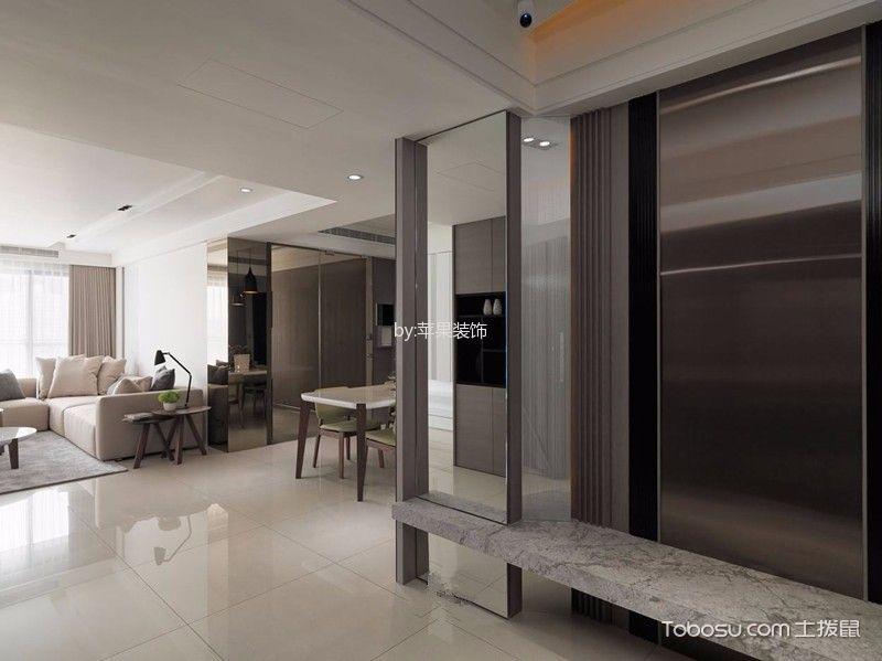 客厅白色地砖现代简约风格装潢设计图片