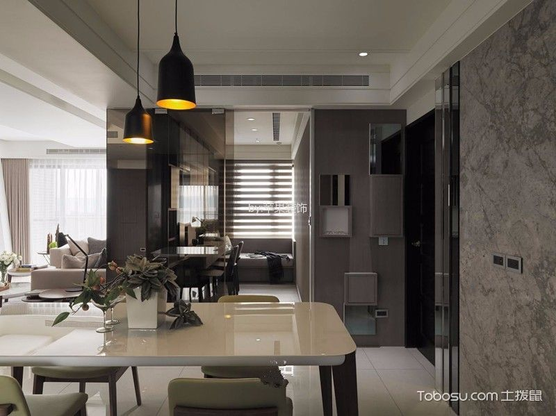 餐厅黑色灯具现代简约风格效果图