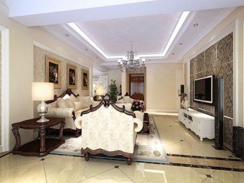 华晟花园130平米三室两厅简欧风格装修效果图