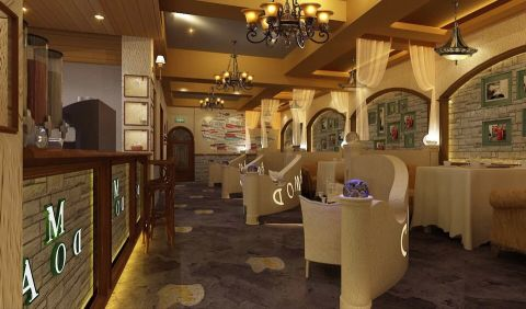 150平米华南doma咖啡店装饰效果图