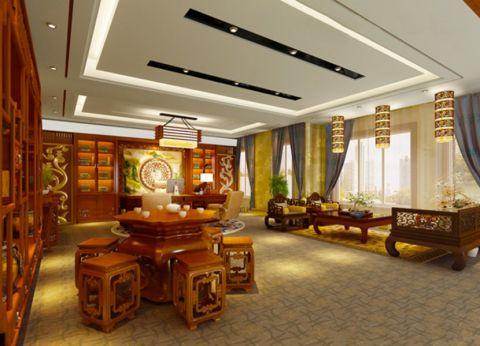 三丰大厦220平总裁办公室新中式风格装修效果图