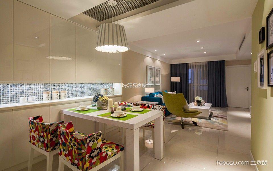 餐厅白色餐桌现代风格装潢效果图