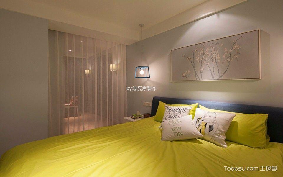 卧室蓝色床现代风格装修图片