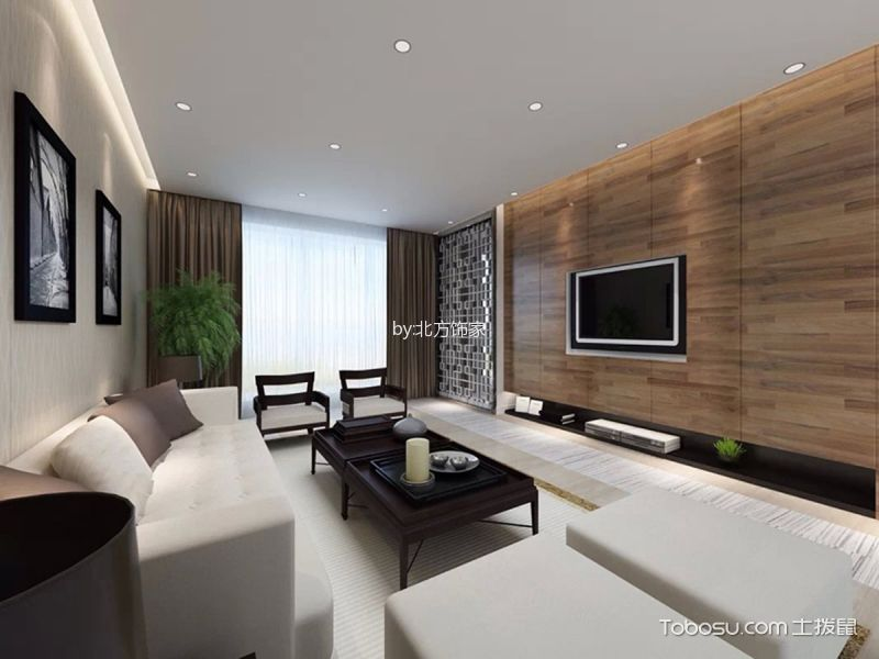 悦泰福里130平三室两厅新中式风格效果图