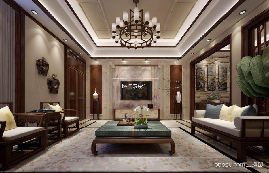 中海·央墅红色300平米中式别墅装修效果图2017图片