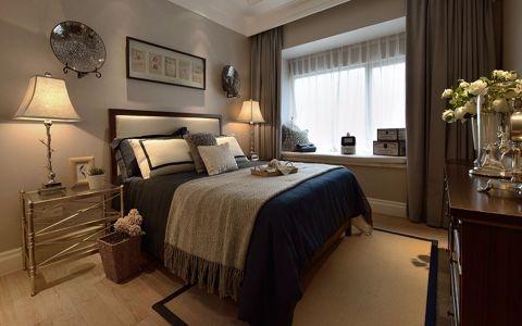 卧室白色飘窗美式风格装饰设计图片