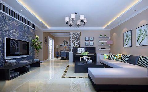 客厅背景墙现代中式风格装潢效果图