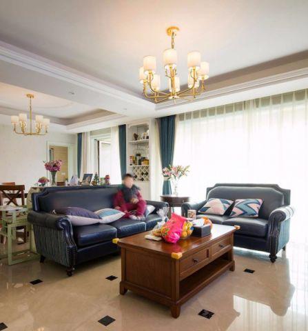 山水湖滨126平米美式风格三室一厅两卫装修实景图