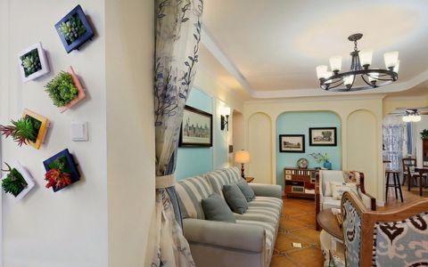 绿都褐石街区89平三室两厅美式田园风格装修效果图