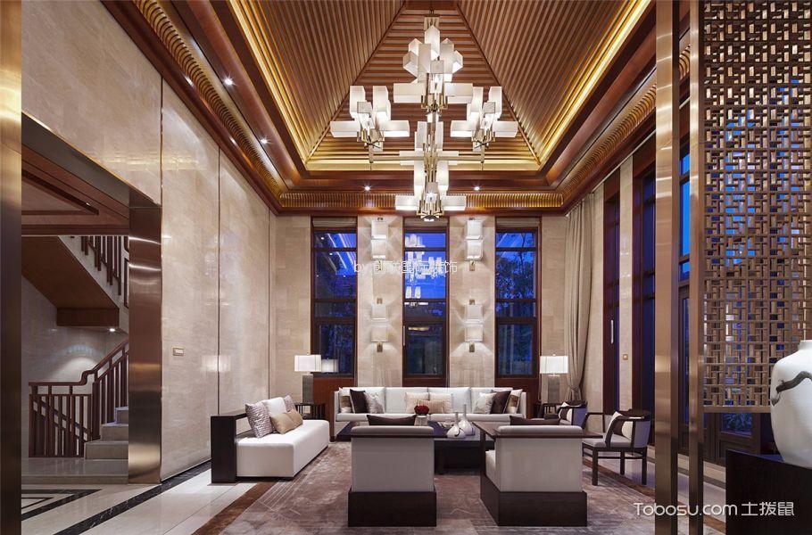 咖啡色520平米现代新中式别墅装修效果图2017图片