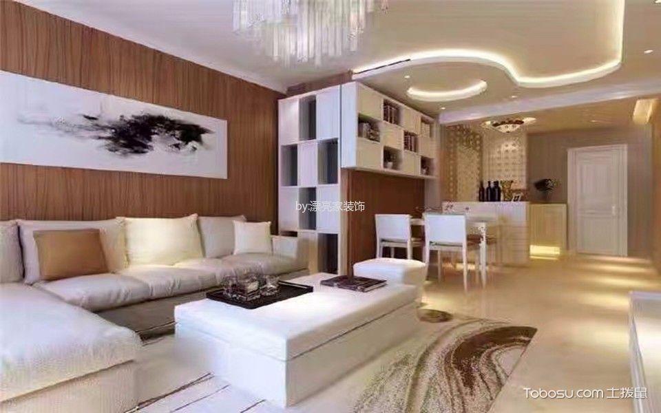客厅白色茶几现代简约风格装潢图片