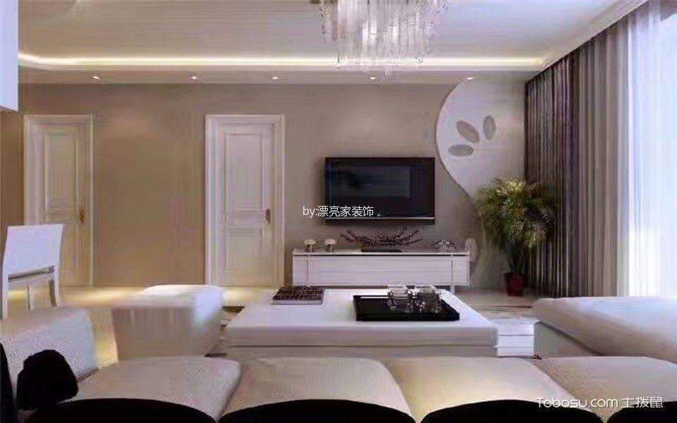客厅白色电视柜现代简约风格效果图