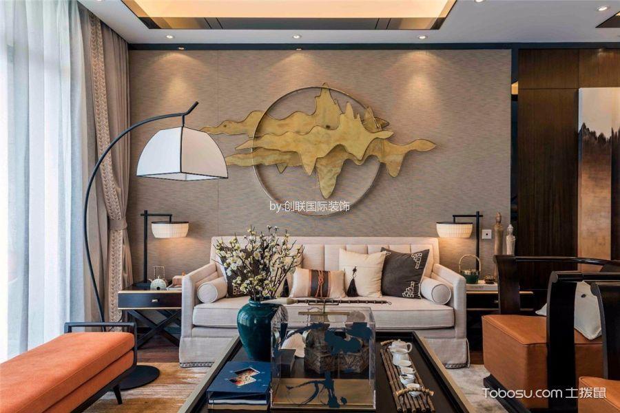 S半岛米色130平米新中式三室一厅装修效果图
