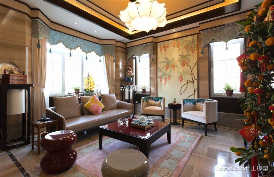 高尔夫花园米色140平米混搭四室两厅装修效果图