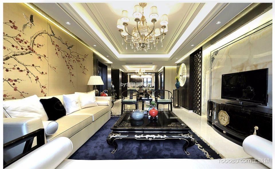 中海胥江府米色120平米混搭风三室一厅装修效果图