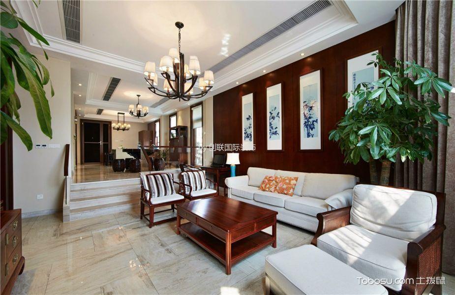 七里香都米色130平米新中式风格三室一厅装修效果图