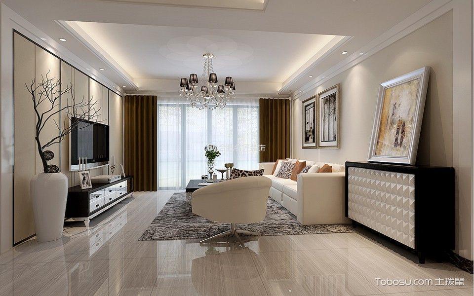 碧水源白色现代简约风格四室两厅装修效果图