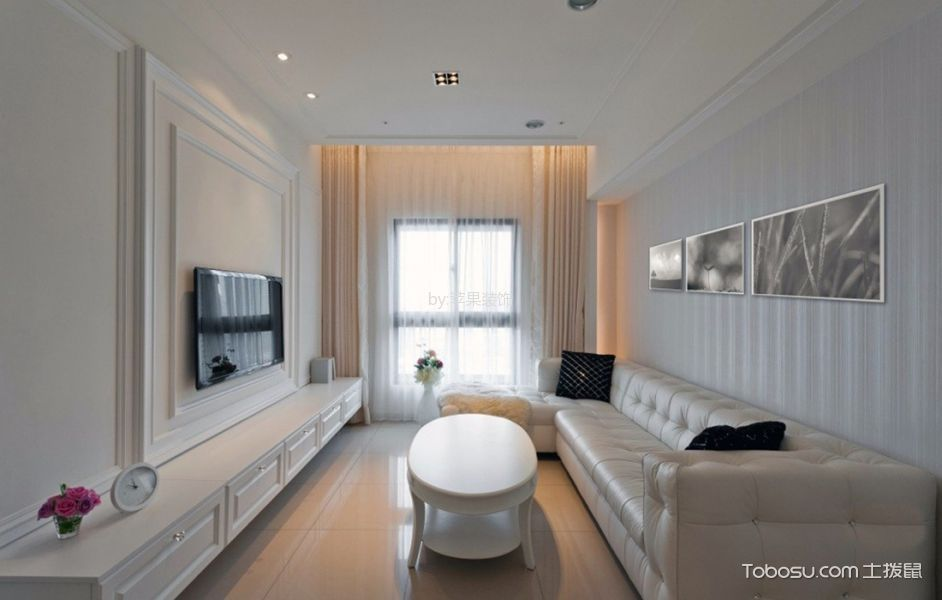 高运莱茵传奇洁舒适白色120平米现代简约三室两厅效果图
