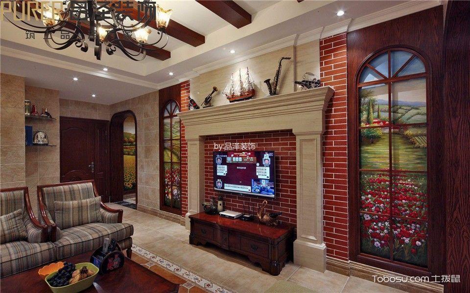 客厅红色电视柜美式风格装潢效果图