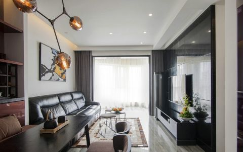 新光耀白色90平米现代两室一厅装修效果图