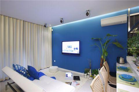 客厅米色窗帘现代简约风格装潢设计图片