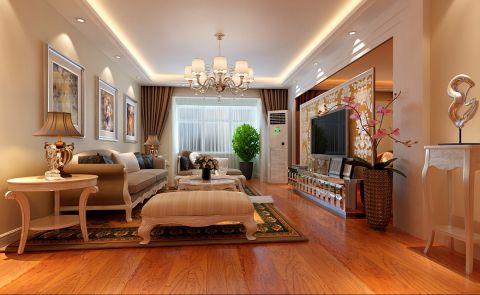 蓝天嘉园咖啡色120平米简欧风格三室两厅装修效果图